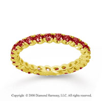 3/4 Carat Ruby 14k Yellow Gold Round Four Prong Eternity Band