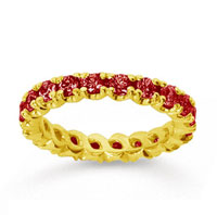 1 1/2 Carat Ruby 14k Yellow Gold Round Four Prong Eternity Band
