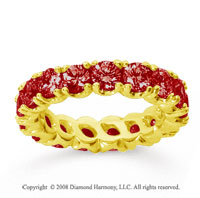 3 1/2 Carat Ruby 14k Yellow Gold Round Four Prong Eternity Band