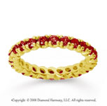 1 Carat Ruby 18k Yellow Gold Round Four Prong Eternity Band