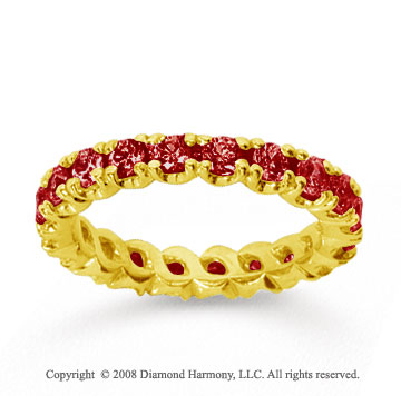 1 1/2 Carat Ruby 18k Yellow Gold Round Four Prong Eternity Band