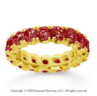 4 1/2 Carat Ruby 18k Yellow Gold Round Four Prong Eternity Band
