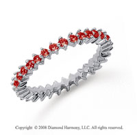 3/5 Carat Ruby Platinum Round Open Prong Eternity Band