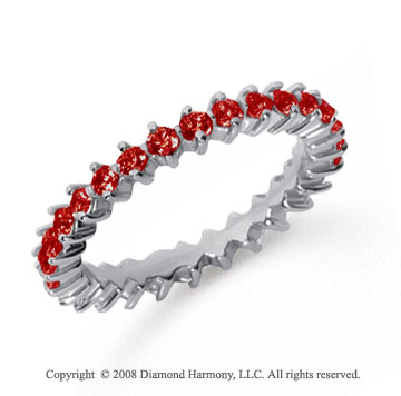 1 Carat Ruby Platinum Round Open Prong Eternity Band