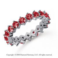 2 Carat Ruby Platinum Round Open Prong Eternity Band