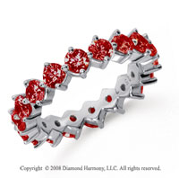 2 1/2 Carat Ruby Platinum Round Open Prong Eternity Band