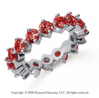 3 Carat Ruby Platinum Round Open Prong Eternity Band