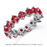 4 Carat Ruby Platinum Round Open Prong Eternity Band