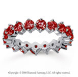 2 1/2 Carat Ruby 14k White Gold Round Open Prong Eternity Band