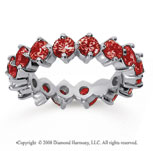 3 1/2 Carat Ruby 14k White Gold Round Open Prong Eternity Band