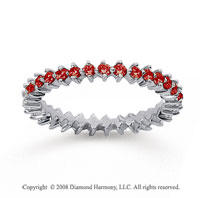 3/5 Carat Ruby 18k White Gold Round Open Prong Eternity Band