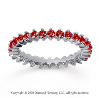 1 Carat Ruby 18k White Gold Round Open Prong Eternity Band