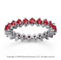 1 1/2 Carat Ruby 18k White Gold Round Open Prong Eternity Band