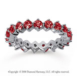 2 Carat Ruby 18k White Gold Round Open Prong Eternity Band