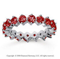 2 1/2 Carat Ruby 18k White Gold Round Open Prong Eternity Band