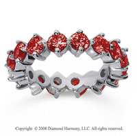 3 1/2 Carat Ruby 18k White Gold Round Open Prong Eternity Band