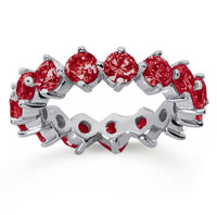 4 Carat Ruby 18k White Gold Round Open Prong Eternity Band