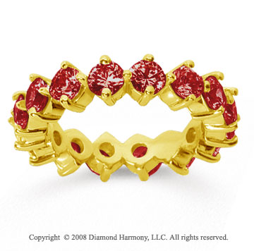 3 1/2 Carat Ruby 14k Yellow Gold Round Open Prong Eternity Band