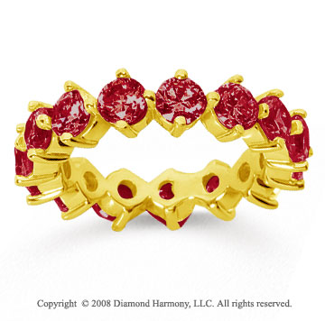 4 Carat Ruby 14k Yellow Gold Round Open Prong Eternity Band