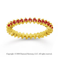3/5 Carat Ruby 18k Yellow Gold Round Open Prong Eternity Band