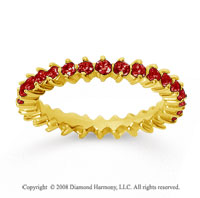 1 Carat Ruby 18k Yellow Gold Round Open Prong Eternity Band