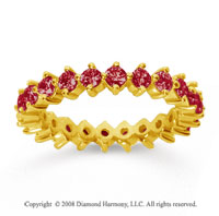 1 1/2 Carat Ruby 18k Yellow Gold Round Open Prong Eternity Band