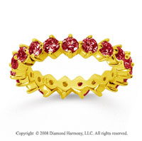 2 Carat Ruby 18k Yellow Gold Round Open Prong Eternity Band