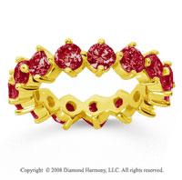 4 Carat Ruby 18k Yellow Gold Round Open Prong Eternity Band