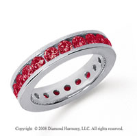 1 1/2 Carat Ruby Platinum Channel Eternity Band
