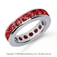 3 Carat Ruby Platinum Channel Eternity Band