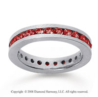 1 Carat Ruby 14k White Gold Channel Eternity Band