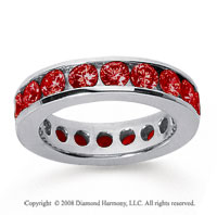 3 Carat Ruby 14k White Gold Channel Eternity Band