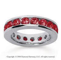 3 1/2 Carat Ruby 14k White Gold Channel Eternity Band