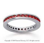 3/4 Carat Ruby 18k White Gold Channel Eternity Band