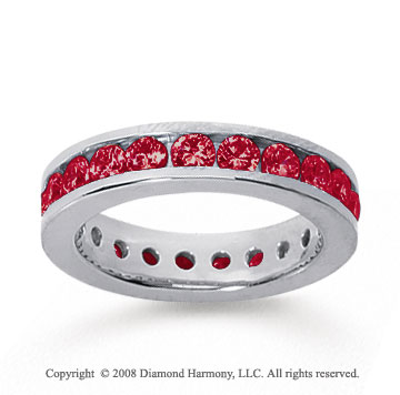 1 1/2 Carat Ruby 18k White Gold Channel Eternity Band