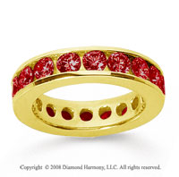 3 Carat Ruby 14k Yellow Gold Channel Eternity Band