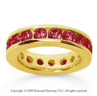 3 1/2 Carat Ruby 14k Yellow Gold Channel Eternity Band