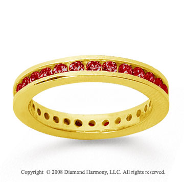 3/4 Carat Ruby 18k Yellow Gold Channel Eternity Band
