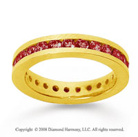 1 Carat Ruby 18k Yellow Gold Channel Eternity Band