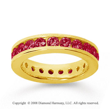 1 1/2 Carat Ruby 18k Yellow Gold Channel Eternity Band