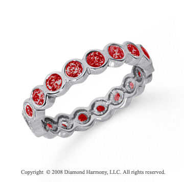 1 Carat Ruby Platinum Round Bezel Eternity Band