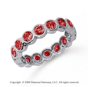 1 1/2 Carat Ruby Platinum Round Bezel Eternity Band