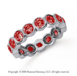 2 Carat Ruby Platinum Round Bezel Eternity Band
