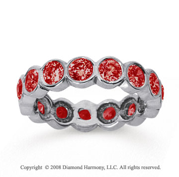 2 Carat Ruby 14k White Gold Round Bezel Eternity Band