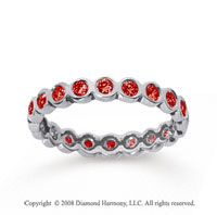 1/2 Carat Ruby 18k White Gold Round Bezel Eternity Band