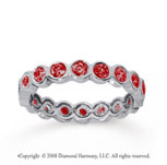 1 Carat Ruby 18k White Gold Round Bezel Eternity Band