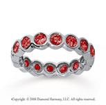 1 1/2 Carat Ruby 18k White Gold Round Bezel Eternity Band