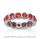 2 1/2 Carat Ruby 18k White Gold Round Bezel Eternity Band