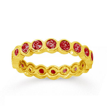 1 Carat Ruby 14k Yellow Gold Round Bezel Eternity Band