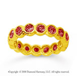 1 1/2 Carat Ruby 14k Yellow Gold Round Bezel Eternity Band